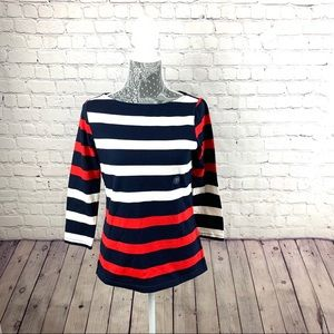 Lands End Blue and Red Stripe Boat Neck top SZ XS